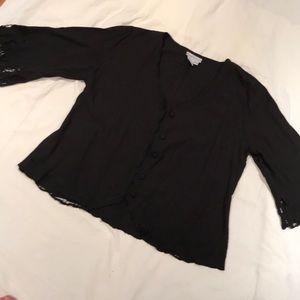 Lace trimmed Jacket soft surroundings EUC